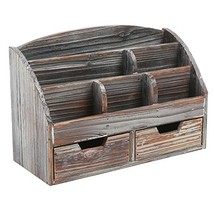 MyGift Distressed Wood Desk Organizer, 6 Compartment 2 Drawer (Barnwood) - $54.39