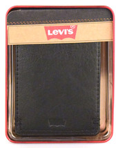 NEW LEVI'S MEN'S PREMIUM LEATHER CREDIT CARD ID WALLET BILLFOLD BLACK 31LV13C7