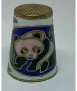 VINTAGE COLORFUL CLOISONNE ENAMEL ON BRASS Thimble - PANDA ORIENTAL  (AY38) - $12.31