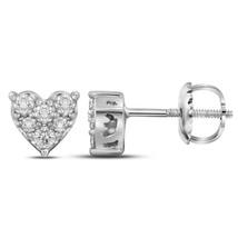 10kt White Gold Womens Round Diamond Heart Cluster Stud Earrings 1/3 Cttw - $314.00