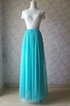 Maxi Full Tulle Skirts Wedding Separate Skirt Bridesmaid Tulle Skirts Water Blue image 1