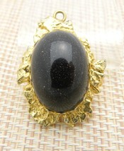 Black Goldstone Gold Tone Oval Necklace Pendant Vintage - $24.74