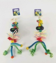 """(Lot of 2) Bird Toy Hanging Multi Textures Dangling Multi Colored 12"""" Pa... - £10.52 GBP"""