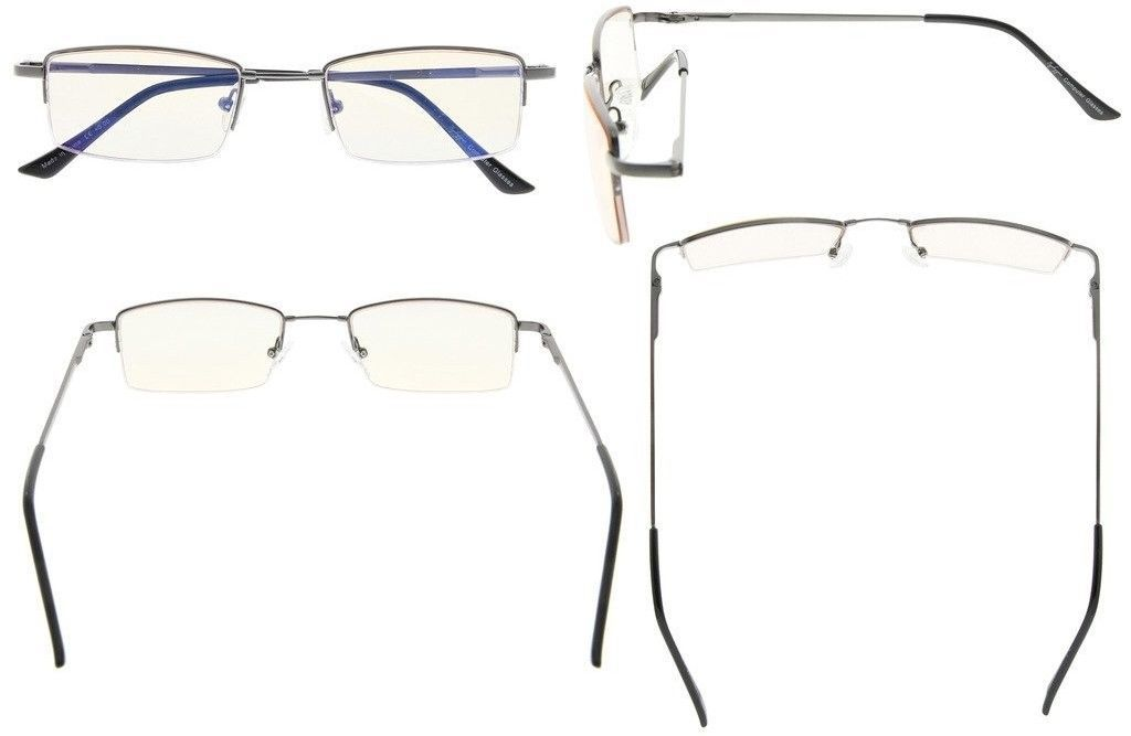 12bd4721d355 Eyekepper Half-rim Memory Titanium Bridge Reading Glasses For Video Games  Blue