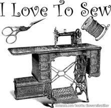 love sew sewing machine printable vintage art jpg png clipart digital do... - $2.99