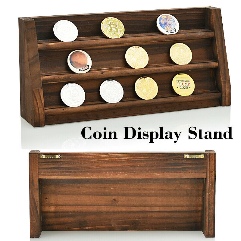 WR Coin Wood Display Stand 3 Rows Shelf Casino Chip Holder Rack Desk Home Decor