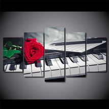 5 Pcs Piano Keys Rose Music Compose Wall Picture Home Decor Canvas Painting - $45.99+