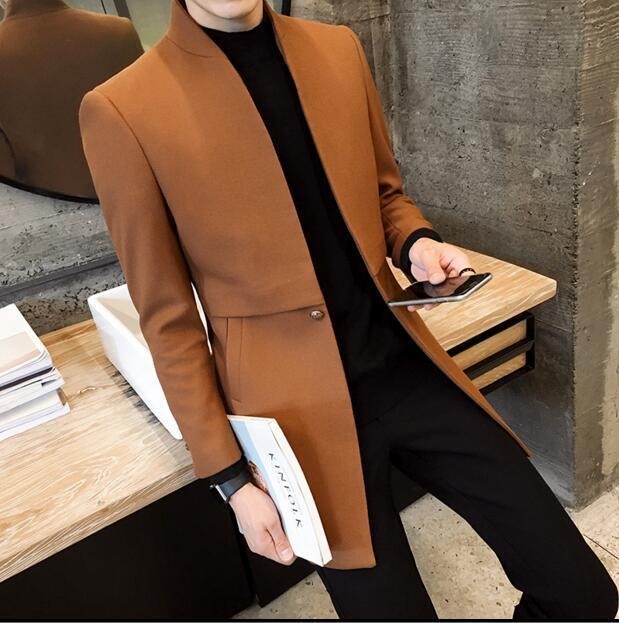 Autumn Winter Stand collar Men Trench Jacket Business Long Coat Casual Fashion W