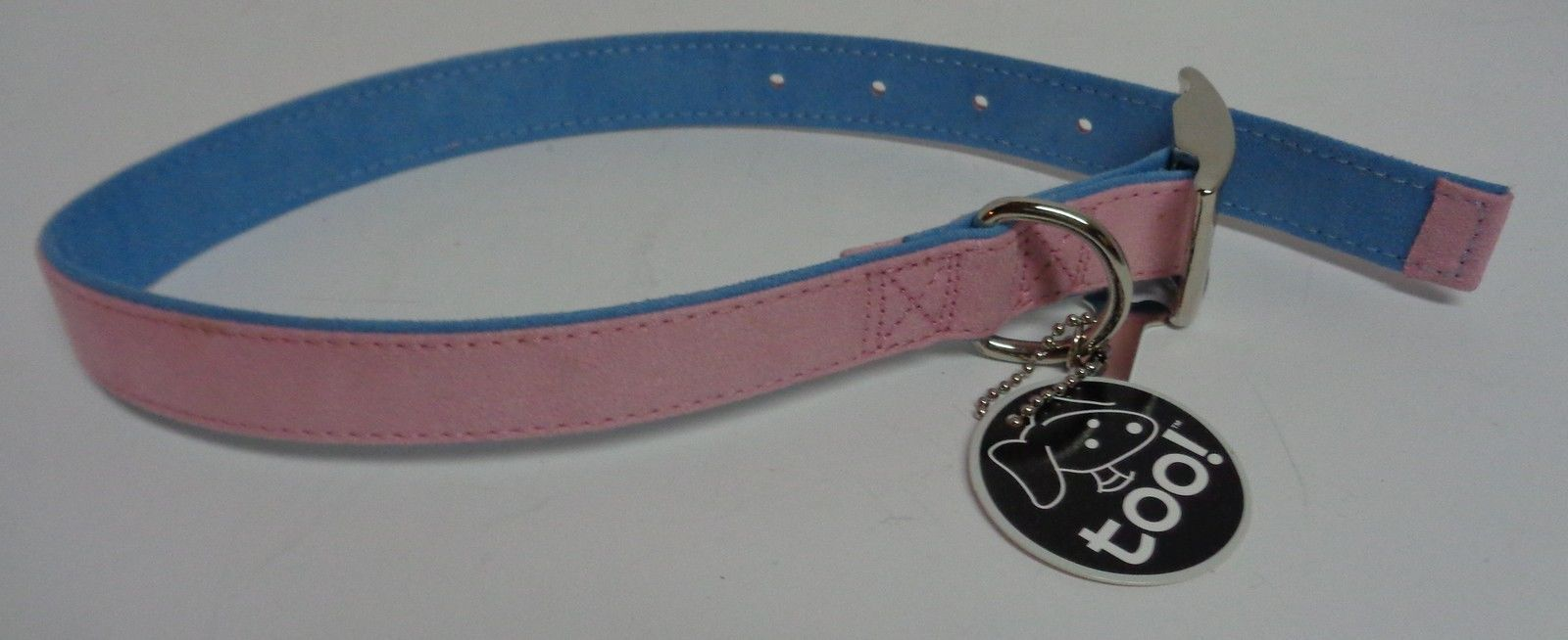 """Fancy Dog Collar NWT Adjustable 22"""" Large Size Breed Pink&Blue Soft Faux Leather"""
