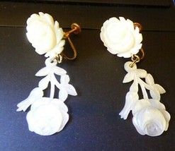 LOVELY Vintage LaTausca Mother of Pearl Dangle Earrings Rose Blossoms & ... - $135.00