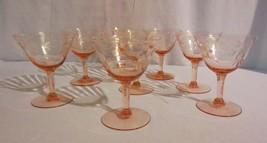 8 PINK OPTIC PANEL DEPRESSION WINE GOBLET GLASSES STEM ETCHED FLOWER - $80.00