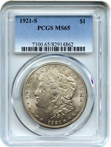 1921-S $1 PCGS MS65 - Popular Final Year S-Mint Morgan - Morgan Silver D... - $814.80