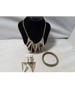 Vintage Retro Mod Fashion Jewelry Set Earrings Bangle Necklace Silver Tone - $27.89