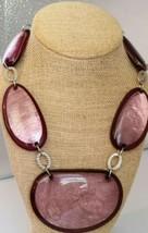 Big Maeve Purple Lucite Statement Necklace Silvertone  - $15.83