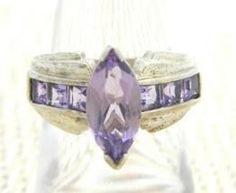 .925 Sterling Silver Purple Almandine Garnet Rhinestone Ring Size 6.25 - $42.07