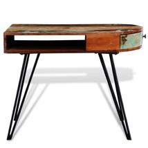Retro Solid Wood Desk Vintage Black Frame Office with Drawers Handmade F... - $239.11