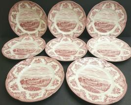 Johnson Brothers Old Britain Castles Salad Plates 8 Pink Chatsworth Vintage Set - $78.87
