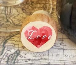 Wine Stopper, Love Over Heart Handmade Wood Bottle Stopper, Valentine's ... - $8.86