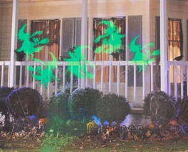 Gemmy LED Lightshow Projection Whirl-a-Motion + Strobe Green Flying Witc... - $13.99