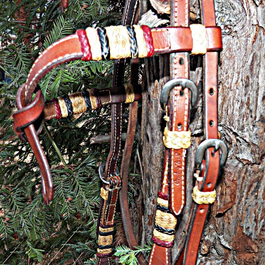 Dennis Moreland Cowboy DM Tack Braided Rawhide Browband Headstall