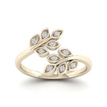 IGI Certified 0.08Ct TDW Diamond 10k Gold Bypass Leaf Fashion Ring - $239.99