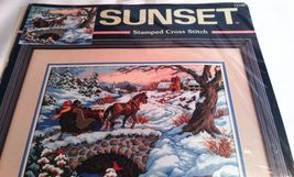 Sunset Cross Stitch Wintry Ride Horse Sleigh Ride Sunset No. 13108 Stamped Cross image 1