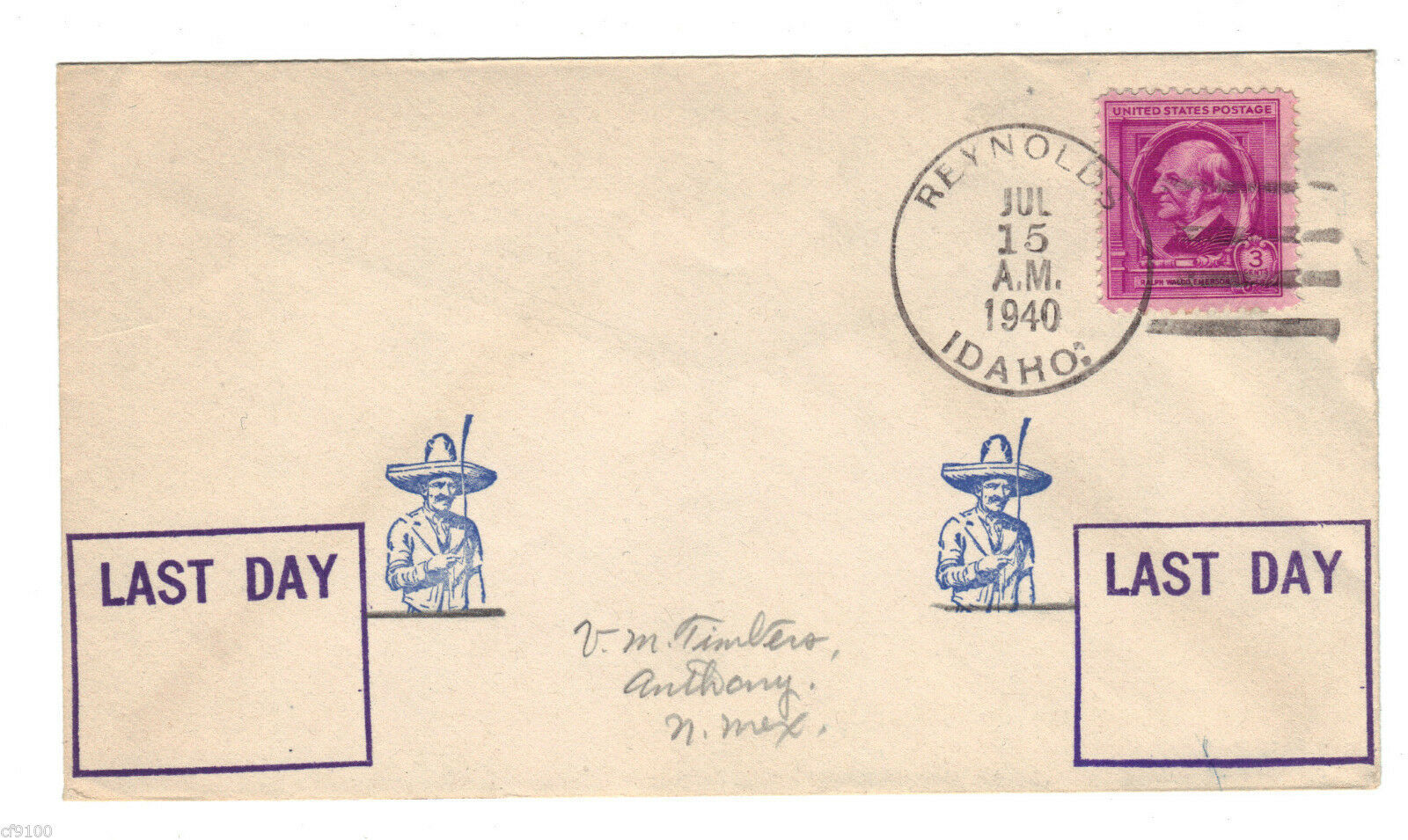 Primary image for US Postal History Cover Stamp DPO Reynolds ID Idaho July 15, 1940 Envelope