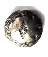 Vintage Sterling Southwestern Rays Etched Round Domed Button 19mm - $49.49