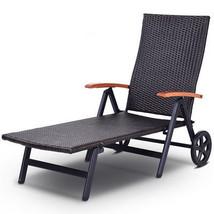 Folding Back Adjustable Aluminum Rattan Lounge Recliner Chair W/ Wheels ... - $181.98