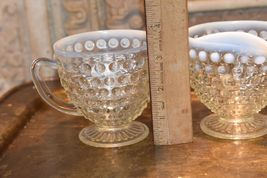 Moonstone HOBNAIL Cream Creamer & Sugar Bowl WHITE ART GLASS Vintage FENTON image 6