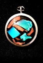 Vintage Charm Turquoise Coral Quarter Punch Charm or Pendant - $29.69
