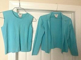 Talbots 2 Piece Blue Collared Knit Jacket & Tank Top set Size Petite - $16.00