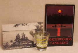 VINTAGE MINNESOTA SOUVENIR LOT 2 POSTCARDS SHOT GLASS - $10.84