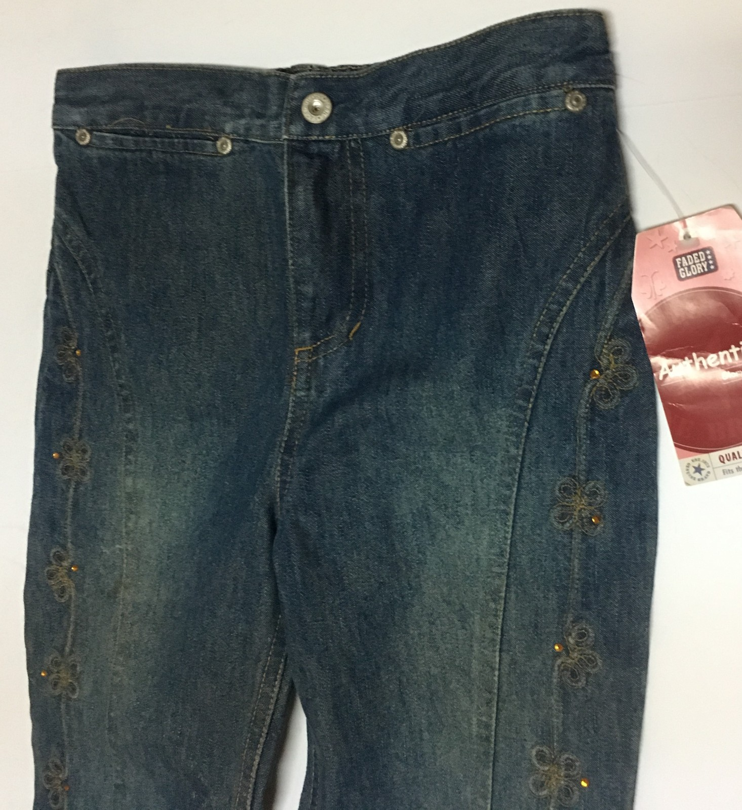 Youth Girl's 6X Blue Jeans NWT Faded Glory Rhinestones Embroidered