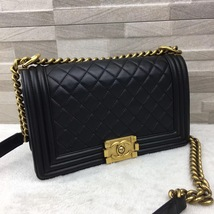 AUTHENTIC CHANEL PEARLY BLACK QUILTED LAMBSKIN MEDIUM BOY FLAP BAG GHW image 3