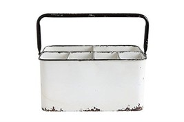 Creative Co-Op Distressed White Metal Caddy with 6 Compartments - $31.21