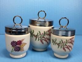 Set of 3 ROYAL WORCESTER EVESHAM Egg Coddle PORCELAIN Silver lid / England - $15.48