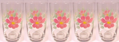81982a set of 5 peach blossom ice tea tumbler 12 oz drinking glass clear hand painted