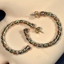 "Vintage 1977 Avon ""NEW TWIST"" Brass, Copper and Nickel/Silver HOOP Earri... - $23.33"