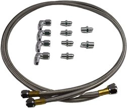 GM Ford Chevy Braided Flexible Stainless Steel Transmission Cooler Hose Line Kit image 1