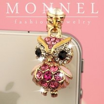 ip133 Cute PINK Wise OWL Crystal 4 4s 3gs Android 3.5mm Ear Cap Anti Dus... - $11.89