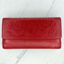 Fossil Red Genuine Leather Embossed Flap Checkbook Wallet Billfold - $30.21