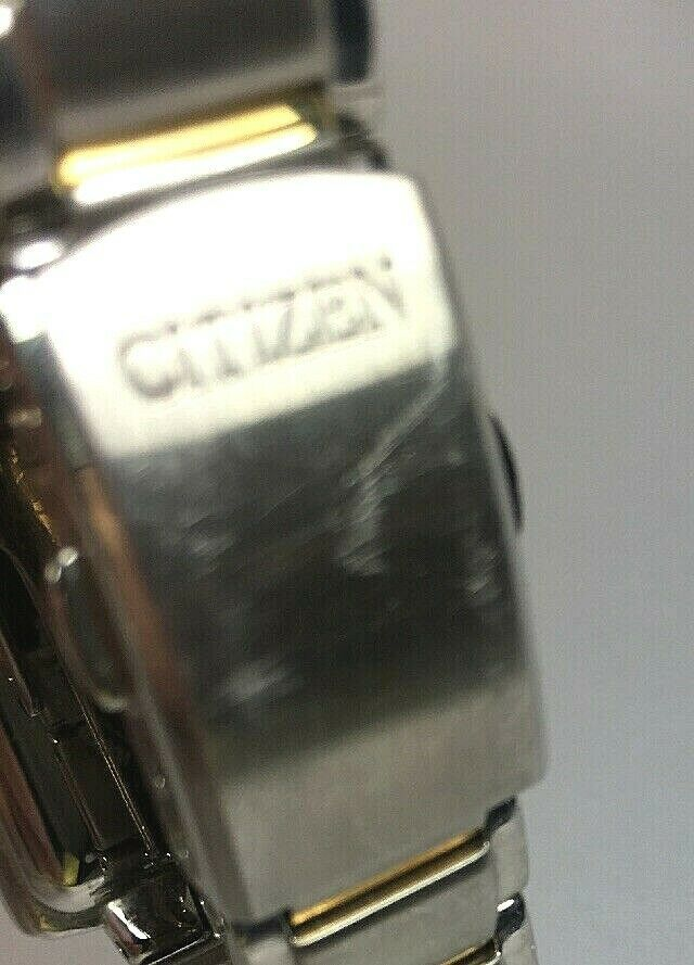 Citizen Women's Small Square Face Watch Two-Tone Silver Gold – Eco Drive- As Is