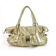 Burberry Farrar Metallic Gold Leather Drawstring Satchel Handbag Shoulder Bag - $544.50