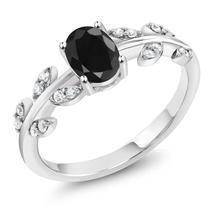 1.28 Ct Oval Black Sapphire 925 Sterling Silver Olive Vine Ring - $95.98