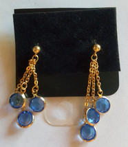 Swarovski Elements 10K Gold Plated Dangle Earrings Blue Stones - $14.85