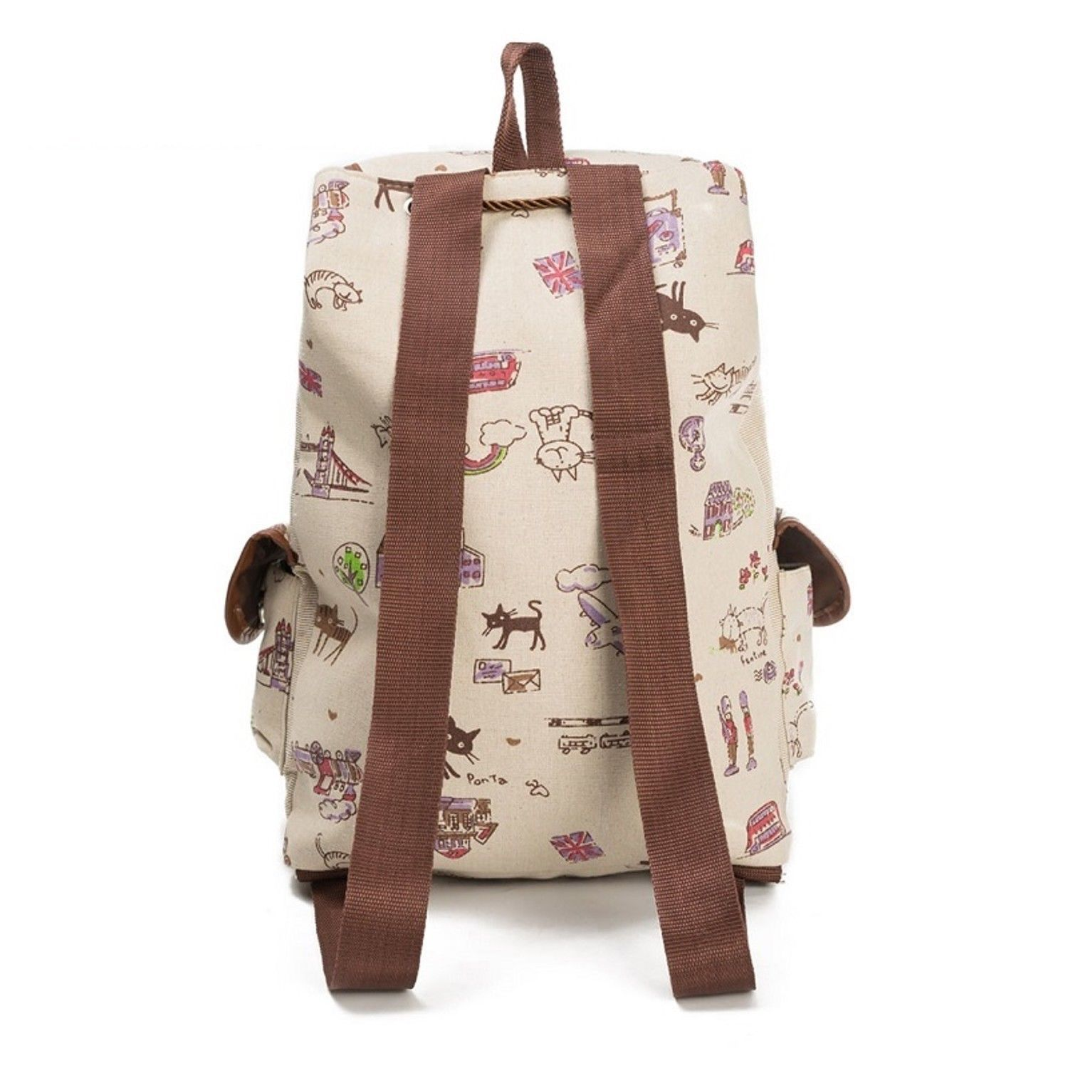 Lovely Cat Printed Canvas Backpack Women Drawstring Teenager Large Capacity Girl