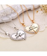 Kids Jewelry bff 2 Necklace Best Friends Rhinestone Heart Pendant Neckla... - $9.86