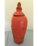 Pottery Vase/Urn With Lid – Red With Brown Color By Entrada – Home Decor - $22.50