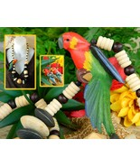 Vintage Wood Beads Parrot Macaw Bird Necklace Earrings Set Tropical  - $27.95